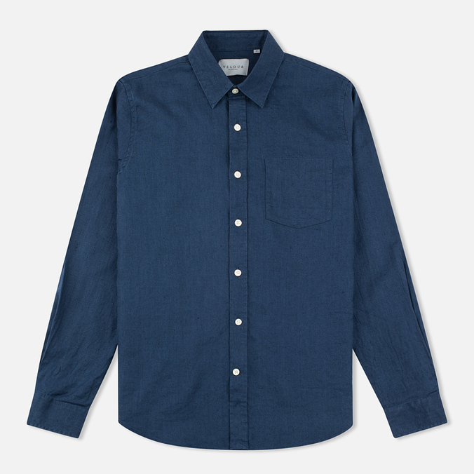 Мужская рубашка Velour Standart Brushed Linen Washed Navy