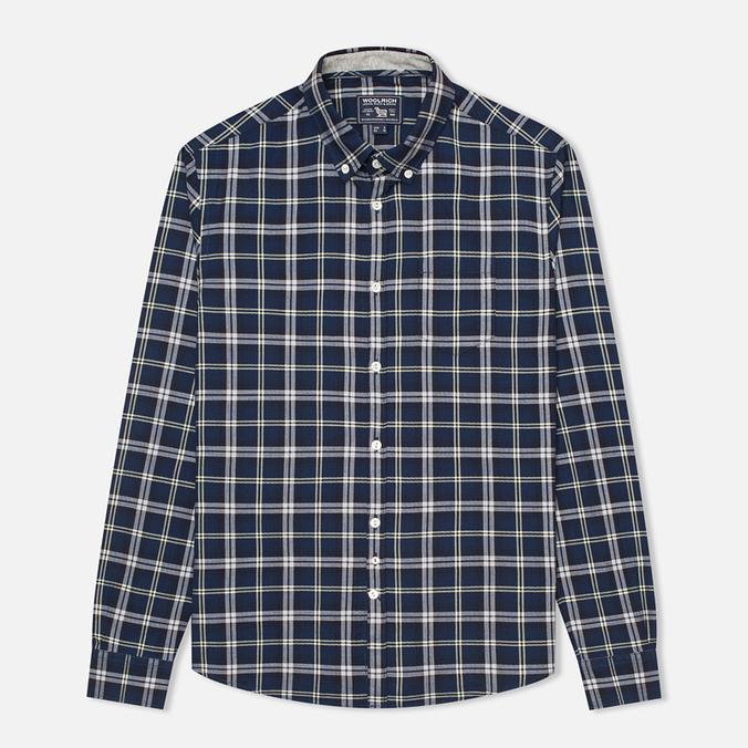 Woolrich Flannel Button Down Large Men's Shirt Royal Blue