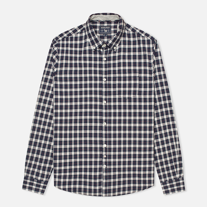 Woolrich Flannel Button Down Small Men's Shirt Dark Blue