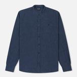 Мужская рубашка Woolrich Linen Corean Collar Medieval Blue фото- 0