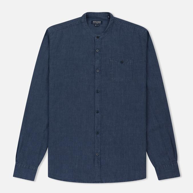 Мужская рубашка Woolrich Linen Corean Collar Medieval Blue