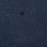 Мужская рубашка Woolrich Linen Corean Collar Medieval Blue фото- 2