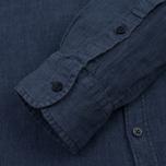 Мужская рубашка Woolrich Linen Corean Collar Medieval Blue фото- 3