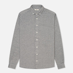 Мужская рубашка YMC Herringbone Button Down Navy/Cream фото- 0