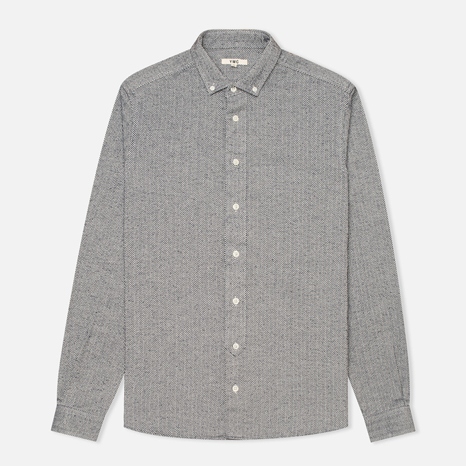 Мужская рубашка YMC Herringbone Button Down Navy/Cream