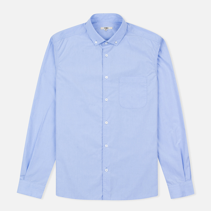 YMC Poplin BD Men's Shirt Blue