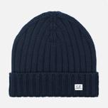Мужская шапка C.P. Company Merino Wool Beanie Dark Blue фото- 0