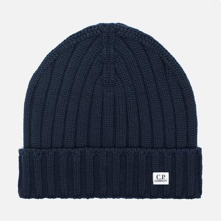 C.P. Company Merino Wool Beanie Men's Hat Dark Blue
