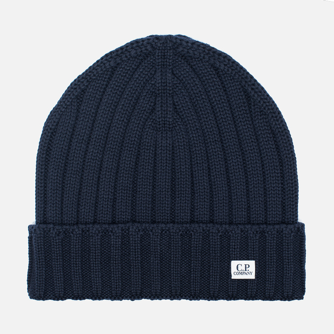 Мужская шапка C.P. Company Merino Wool Beanie Dark Blue