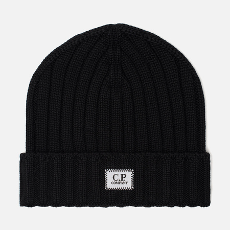 Мужская шапка C.P. Company Wool Ribbed Logo Black