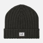 Шапка C.P. Company Wool Ribbed Logo Dark Olive фото- 0