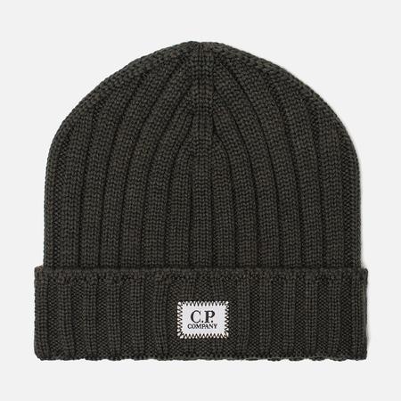 Мужская шапка C.P. Company Wool Ribbed Logo Dark Olive