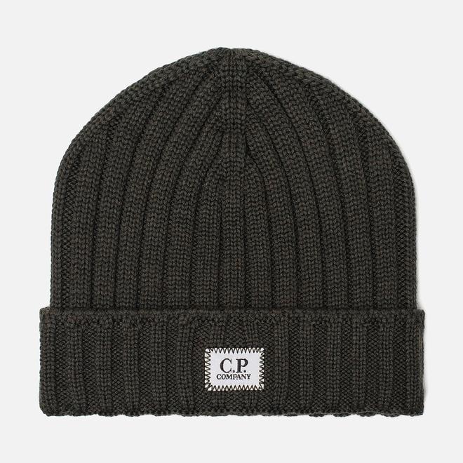 Шапка C.P. Company Wool Ribbed Logo Dark Olive