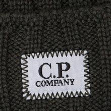 Шапка C.P. Company Wool Ribbed Logo Dark Olive фото- 1