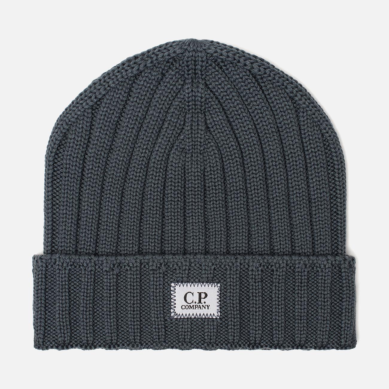 Шапка C.P. Company Wool Ribbed Logo Dark Slate