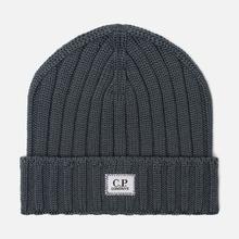 Шапка C.P. Company Wool Ribbed Logo Dark Slate фото- 0