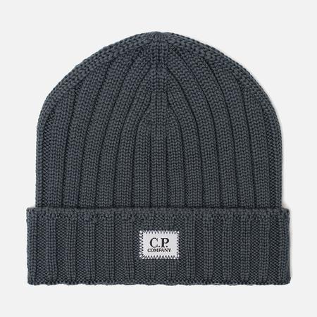 Мужская шапка C.P. Company Wool Ribbed Logo Dark Slate