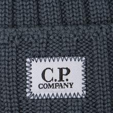 Шапка C.P. Company Wool Ribbed Logo Dark Slate фото- 1