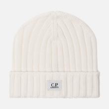 Шапка C.P. Company Wool Ribbed Logo Gauze White фото- 0