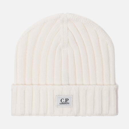Мужская шапка C.P. Company Wool Ribbed Logo Gauze White