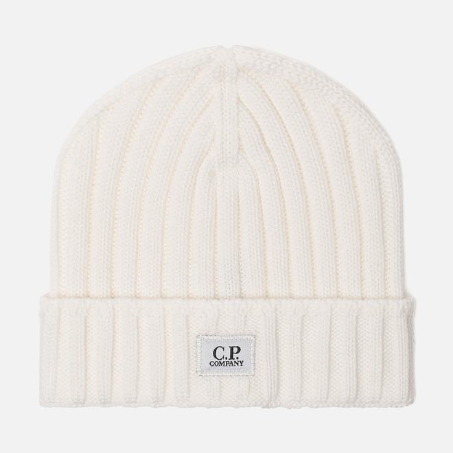 Шапка C.P. Company Wool Ribbed Logo Gauze White