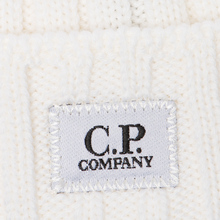 Шапка C.P. Company Wool Ribbed Logo Gauze White фото- 1
