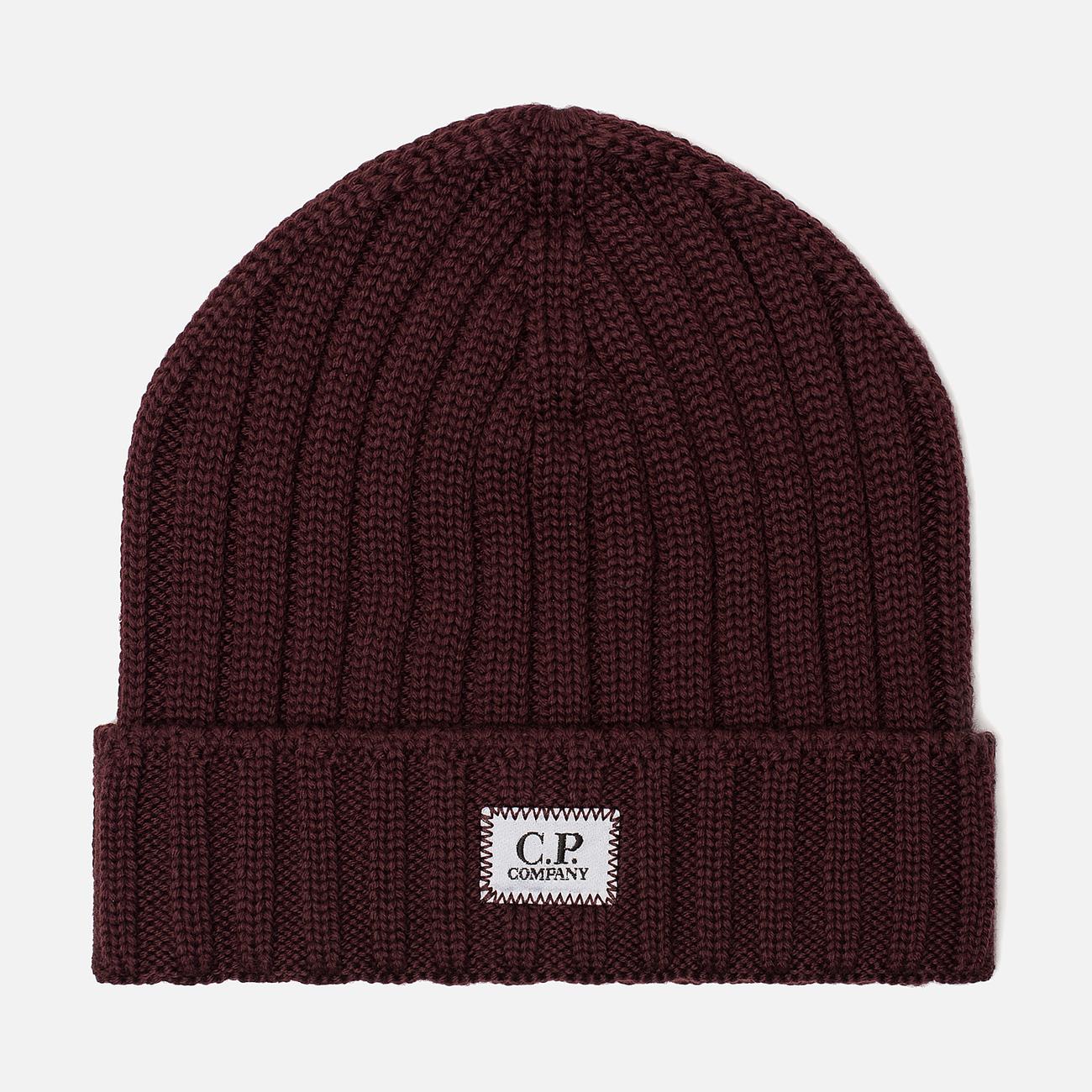 Шапка C.P. Company Wool Ribbed Logo Tawny Port Purple