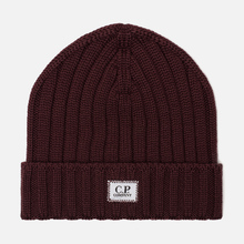 Шапка C.P. Company Wool Ribbed Logo Tawny Port Purple фото- 0