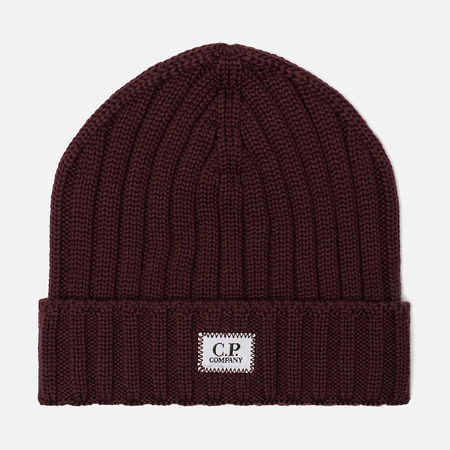 Шапка C.P. Company Wool Ribbed Logo Tawny Port Purple