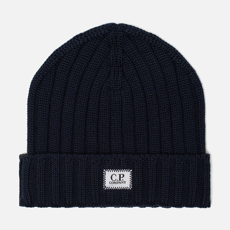 Мужская шапка C.P. Company Wool Ribbed Logo Total Eclipse