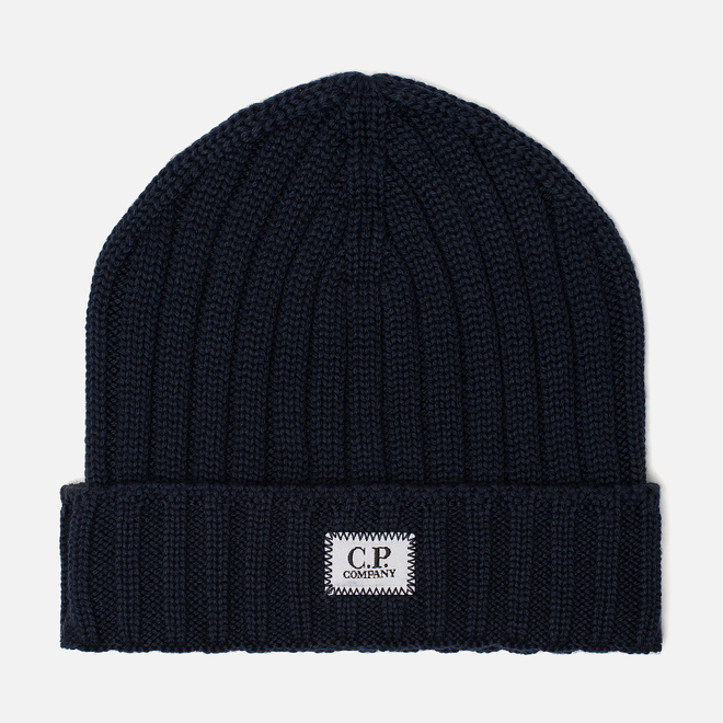 Шапка C.P. Company Wool Ribbed Logo Total Eclipse