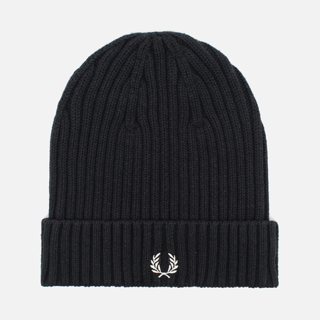Fred Perry Ribbed Beanie Hat Black