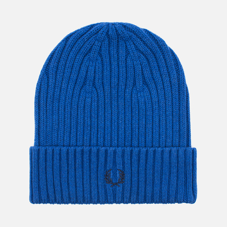 Fred Perry Ribbed Beanie Hat Blue
