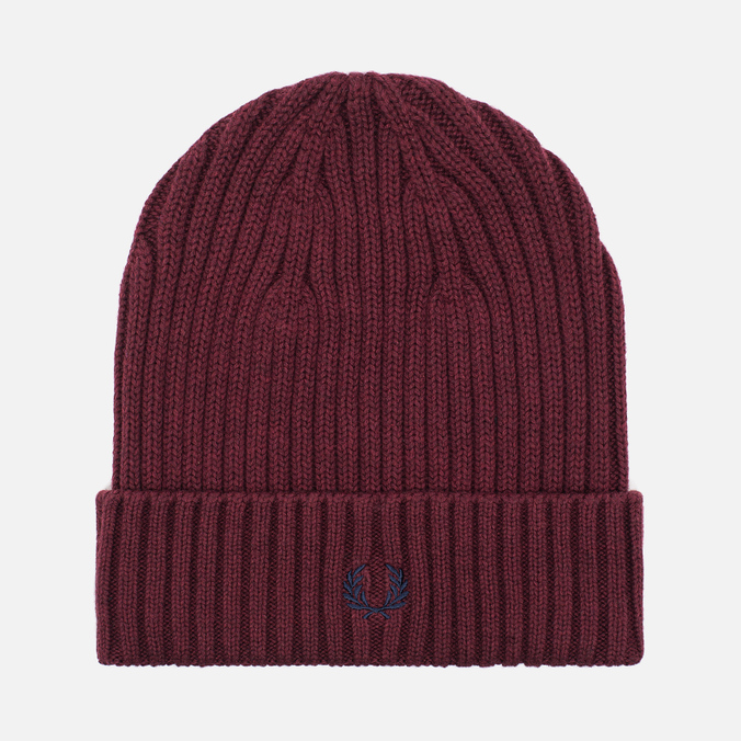 Fred Perry Ribbed Beanie Hat Maroon