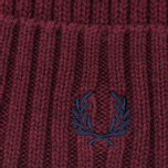 Fred Perry Ribbed Beanie Hat Maroon photo- 1