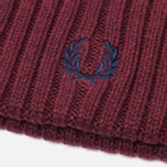 Fred Perry Ribbed Beanie Hat Maroon photo- 2