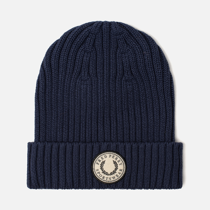 Шапка Fred Perry Ribbed Cotton Carbon Blue
