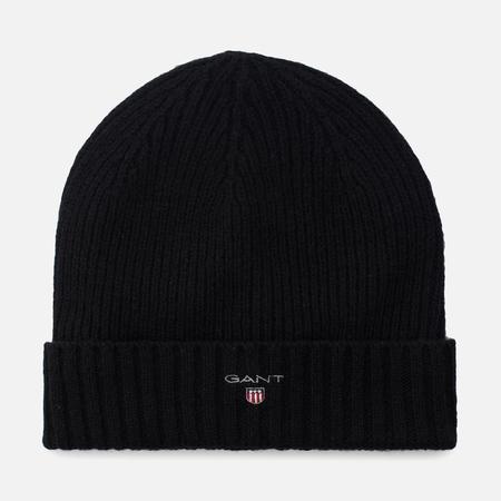 Мужская шапка Gant Basic Fleece Lined Cotton/Wool Beanie Black