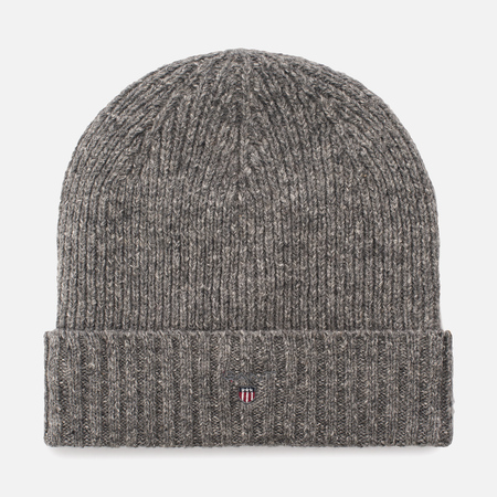 Мужская шапка Gant Basic Fleece Lined Cotton/Wool Beanie Dark Grey Melange