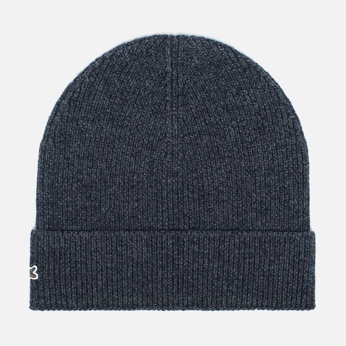 Мужская шапка Lacoste Ribbed Wool Beanie Antracite Melange