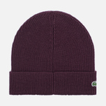 Мужская шапка Lacoste Ribbed Wool Beanie Burgundy фото- 1