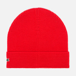 Мужская шапка Lacoste Beanie Red фото- 0