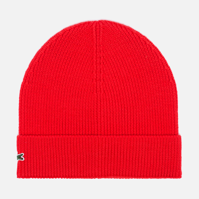 Мужская шапка Lacoste Ribbed Wool Beanie Red