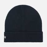 Мужская шапка Lacoste Ribbed Wool Beanie Black фото- 0