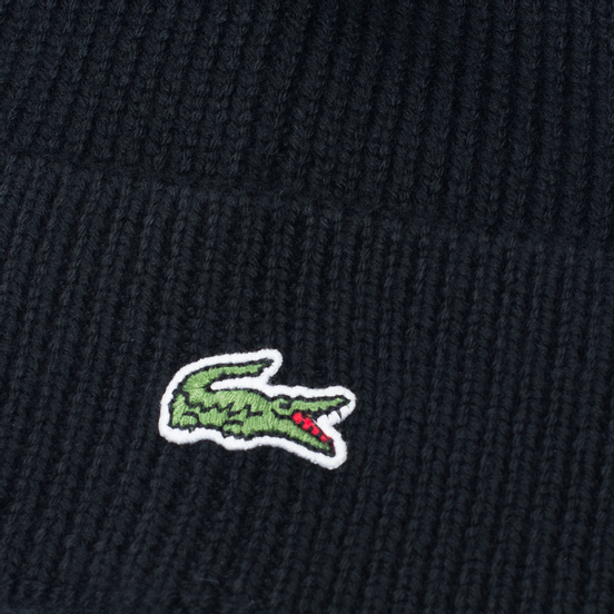 Шапка Lacoste Ribbed Wool Beanie Black