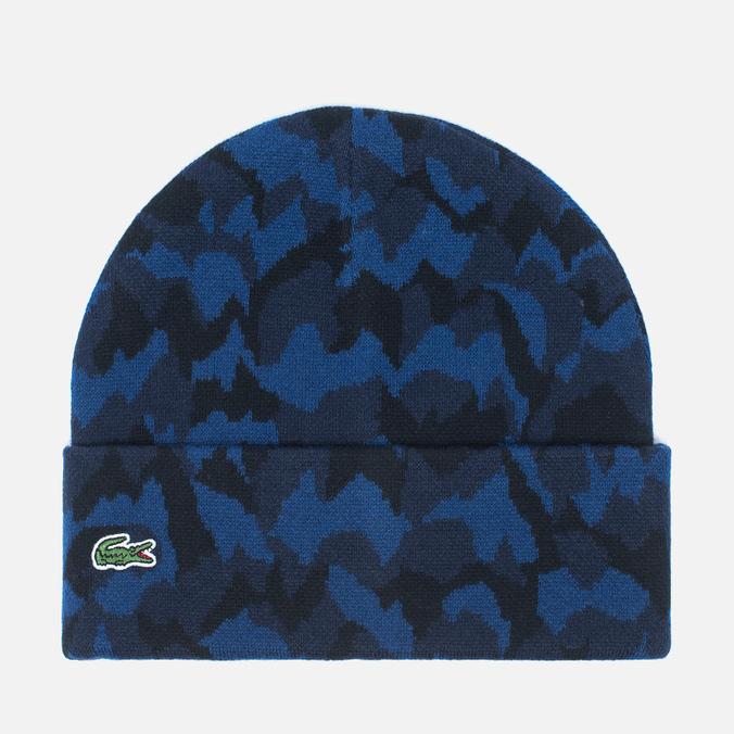 Мужская шапка Lacoste Live Print Jacquard Beanie Navy/Black