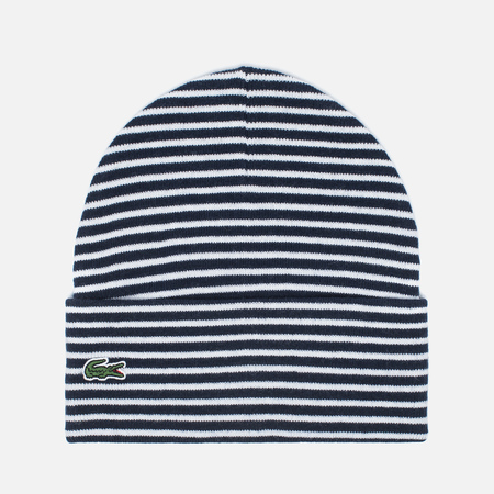 Lacoste Live Print Jacquard Beanie Men's hat Wnite/Navy
