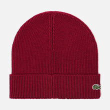 Шапка Lacoste Ribbed Wool Beanie Bordeaux Red фото- 1