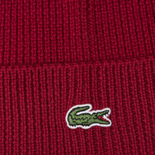 Шапка Lacoste Ribbed Wool Beanie Bordeaux Red фото- 2