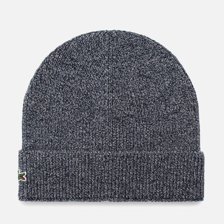 Мужская шапка Lacoste Ribbed Wool Beanie Mouline Navy Blue